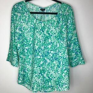 Ann Taylor Blouse XS 3/4 Sleeve Multi Color Blue